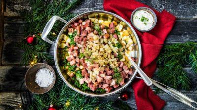 Pytt med julskinka, julkorv och potatis