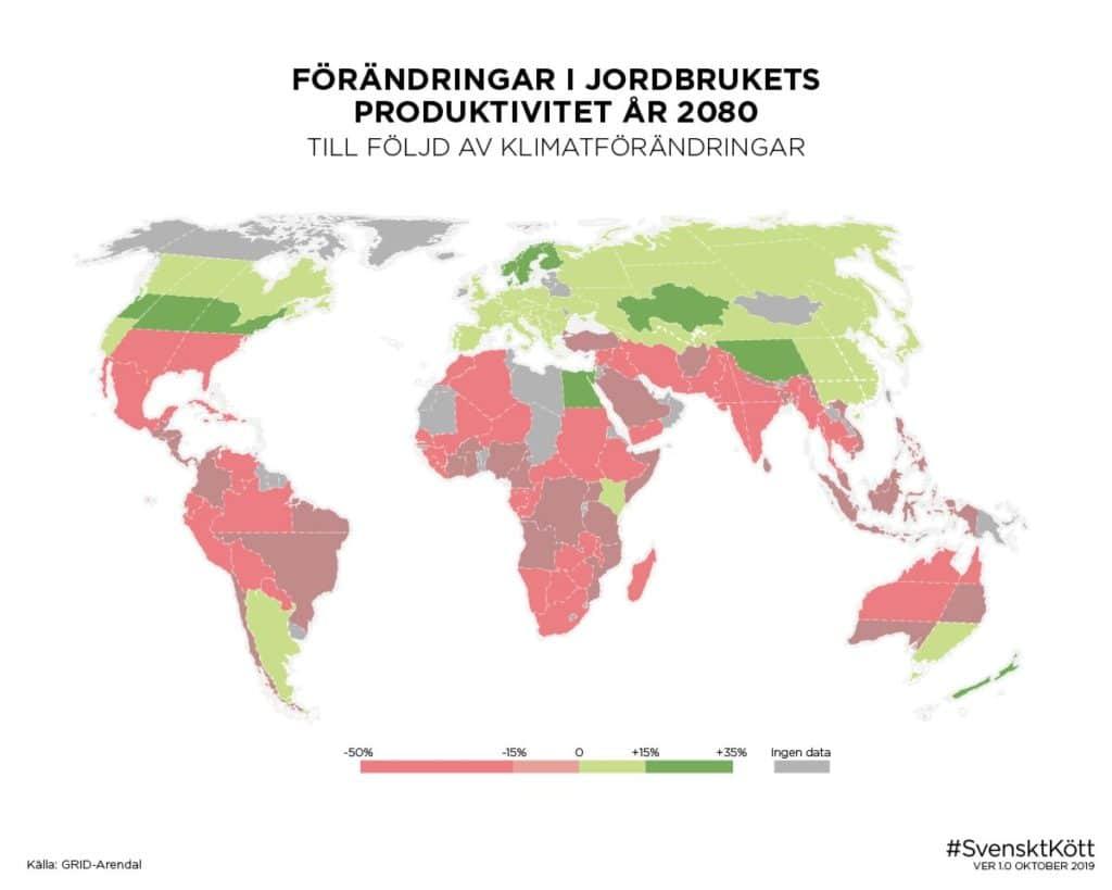 Förändringar i jordbrukets produktivitet år 2080 till följd av klimatförändringar