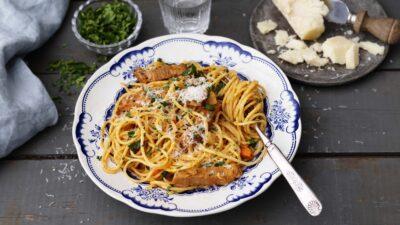 Spaghetti all'Amatriciana med gårdagens rester