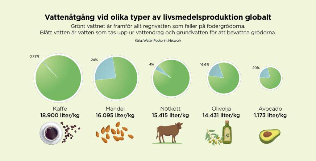 Vattenåtgång vid olika typer av livsmedelsproduktion