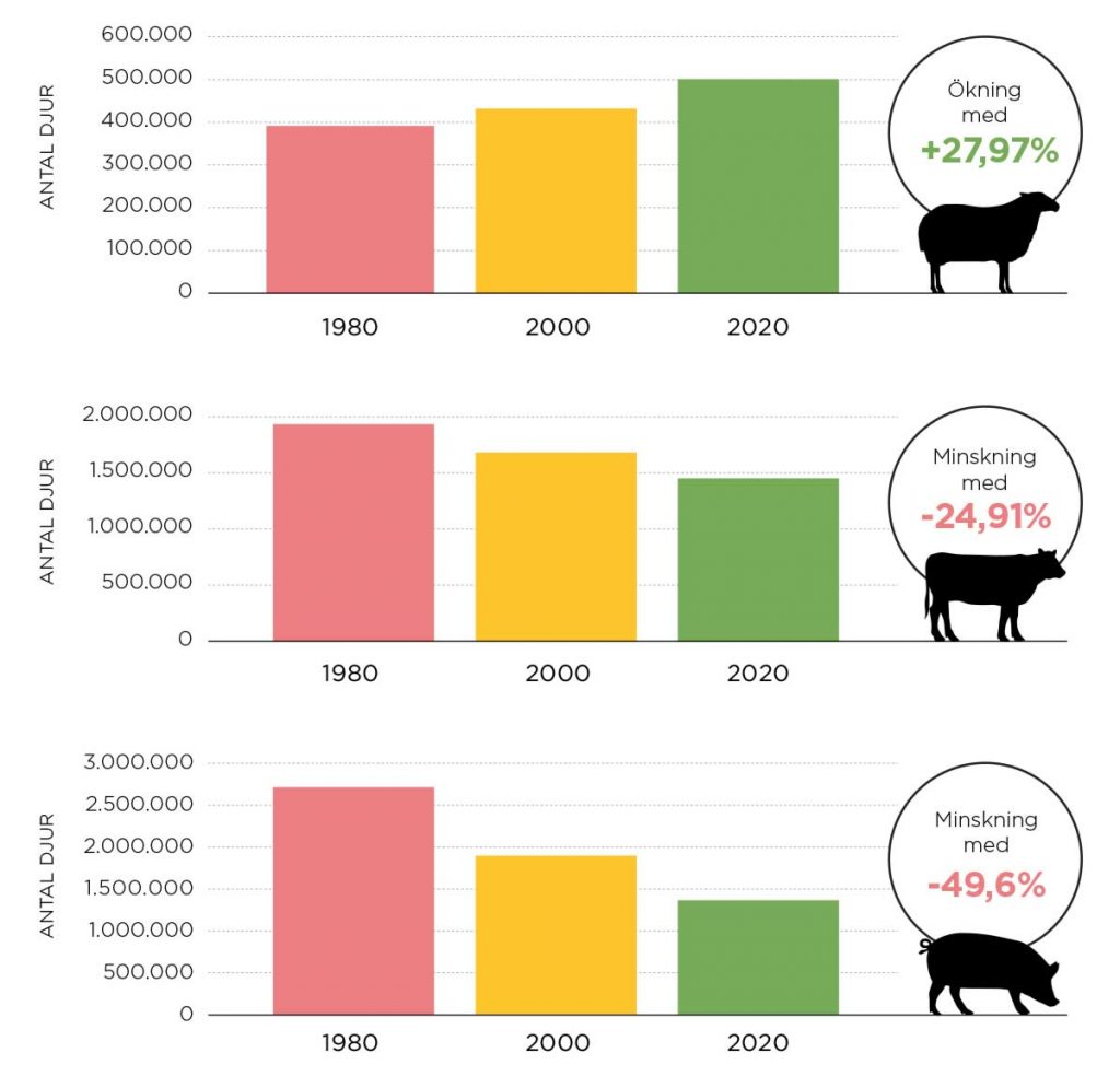 Antal djur utveckling 2020